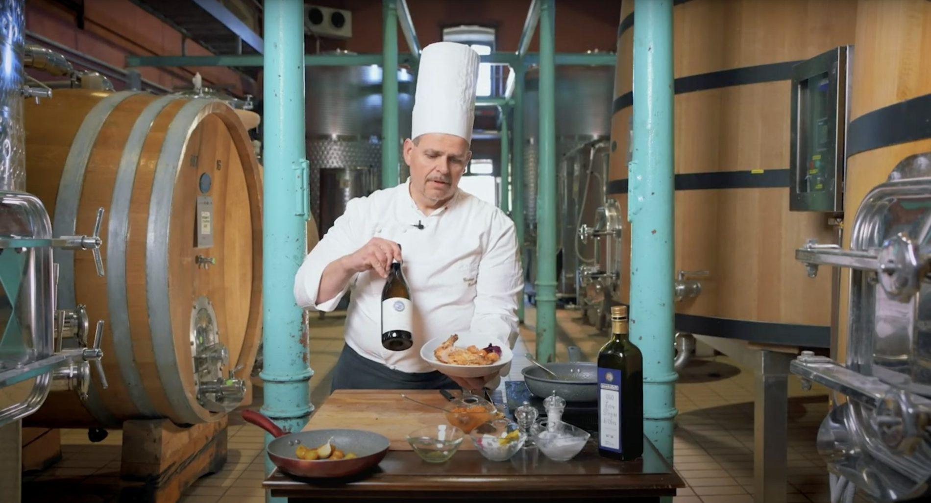 Suprema di Pollo al forno con Zucca e baby Melanzane & Montefalco Bianco D.O.C.